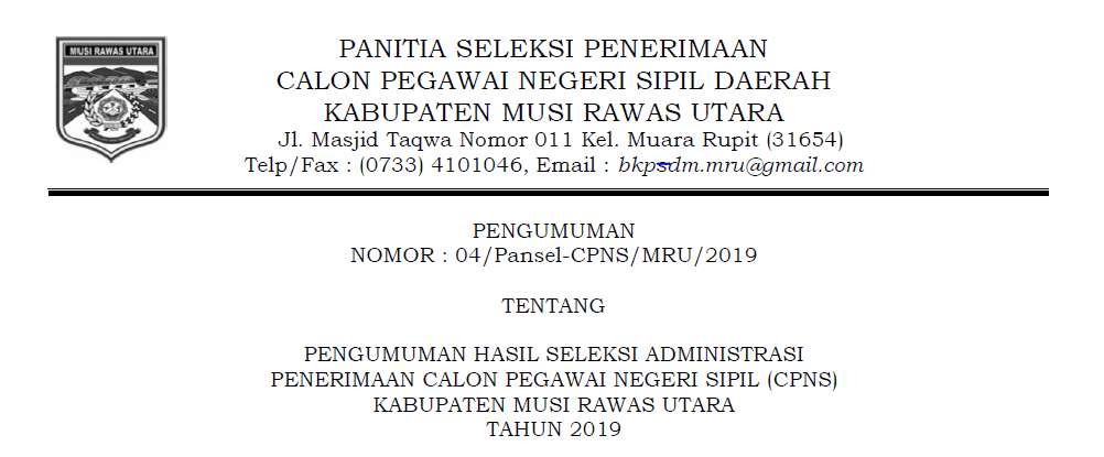 Pengumuman administrasi CPNS 2019 Kab. Musi Rawas Utara